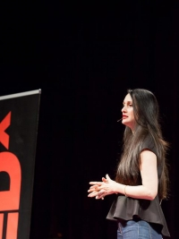 Shayma Saadat speaking at TEDx Waterloo