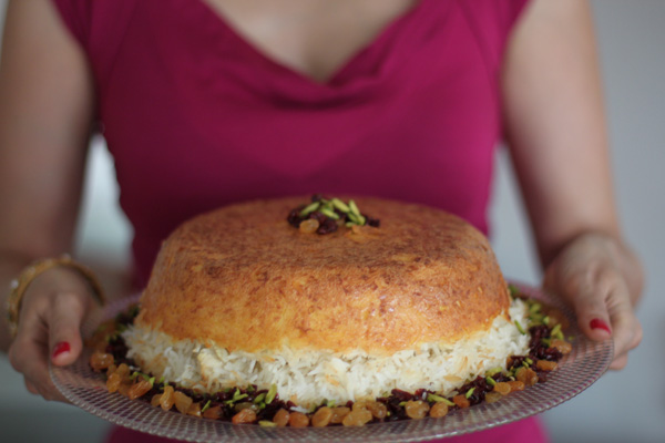 Tahchin persian rice timbale with savoury saffron chicken silk photo forumfinder Images
