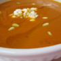 Roasted Red Pepper Soup with Feta & Pignolia Nuts